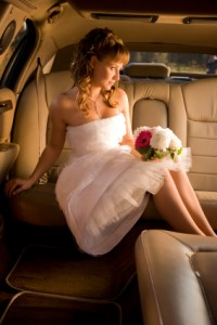 Photo of a young woman in a limousine