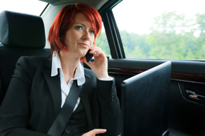 Photo of a Businesswoman in a limo