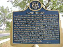 A photo of a community sign in Borden, Ontario