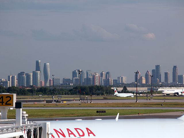 Mississauga skyline viewed from Pearson Airport