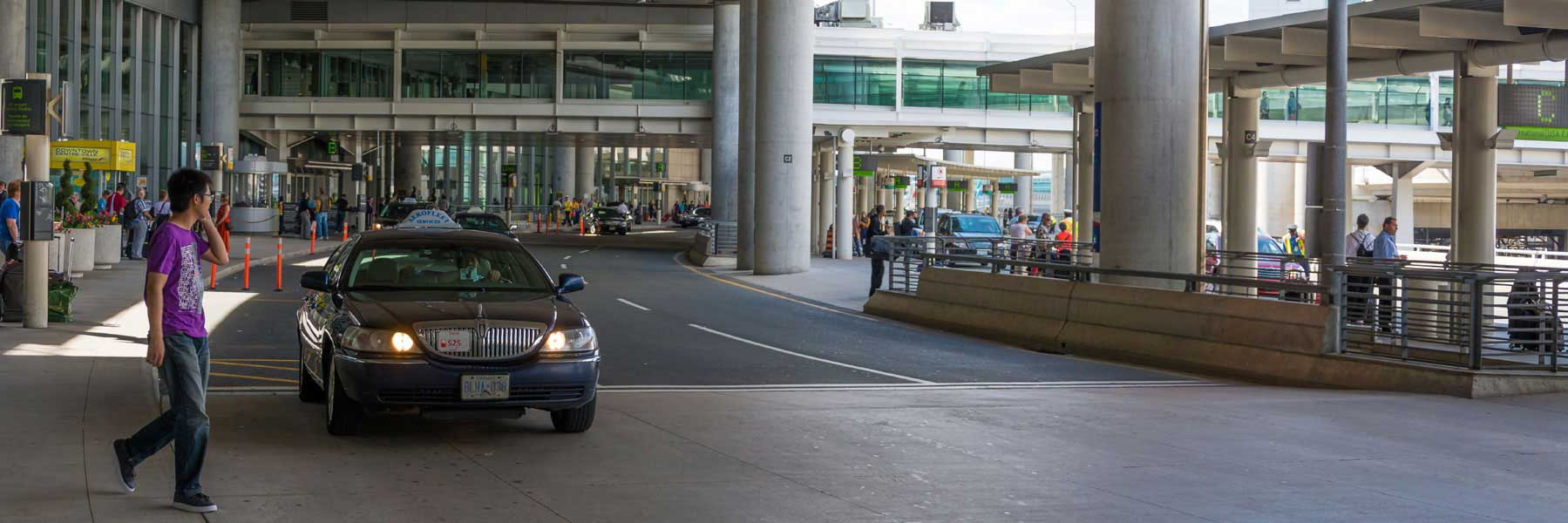 Man calling a limo at Toronto airport